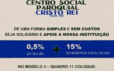 Consigne 0,5% do seu IRS em favor do Centro Social Paroquial de Cristo Rei